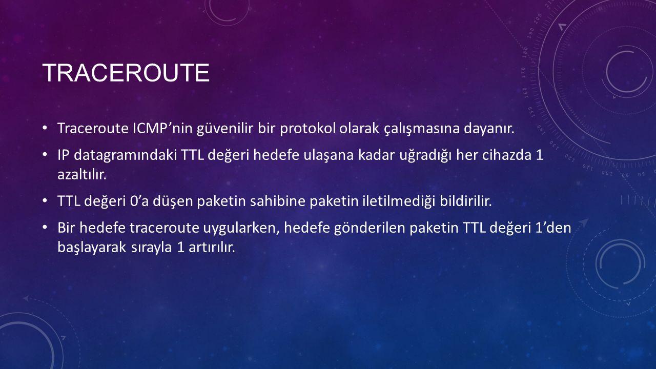 TRACEROUTE Traceroute ICMP'nin güvenilir bir protokol olarak çalışmasına dayanır. IP datagramındaki TTL değeri hedefe ulaşana kadar uğradığı her cihaz