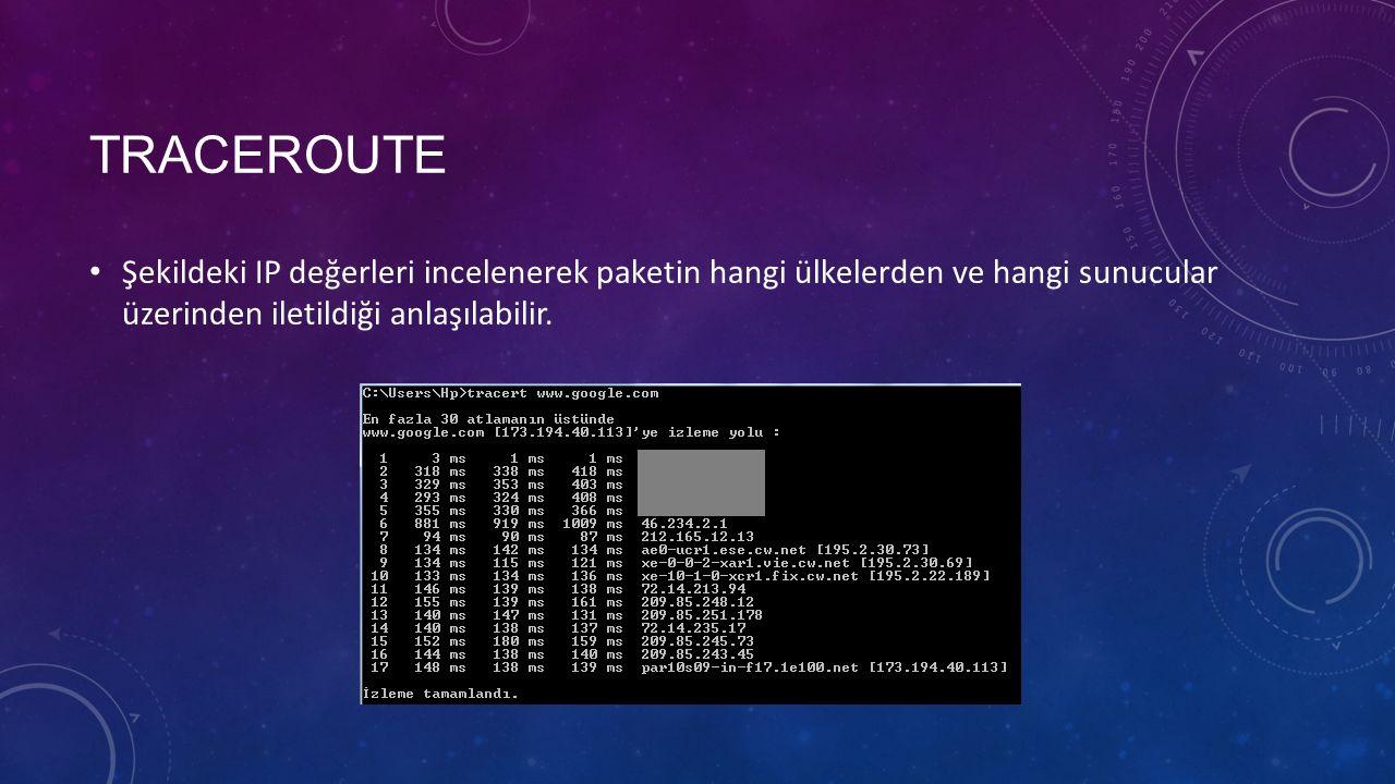 TRACEROUTE Şekildeki IP değerleri incelenerek paketin hangi ülkelerden ve hangi sunucular üzerinden iletildiği anlaşılabilir.