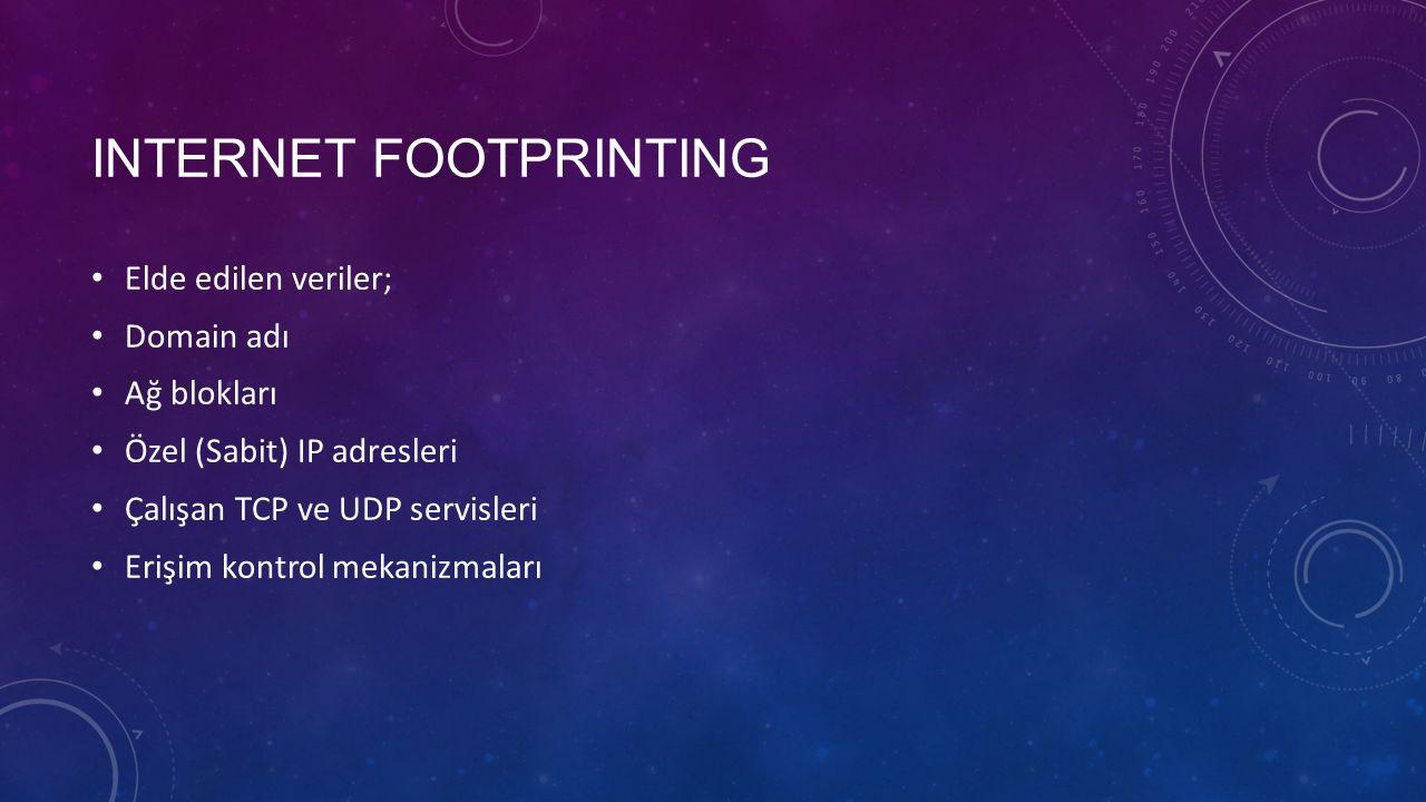 INTERNET FOOTPRINTING Elde edilen veriler; Domain adı Ağ blokları Özel (Sabit) IP adresleri Çalışan TCP ve UDP servisleri Erişim kontrol mekanizmaları