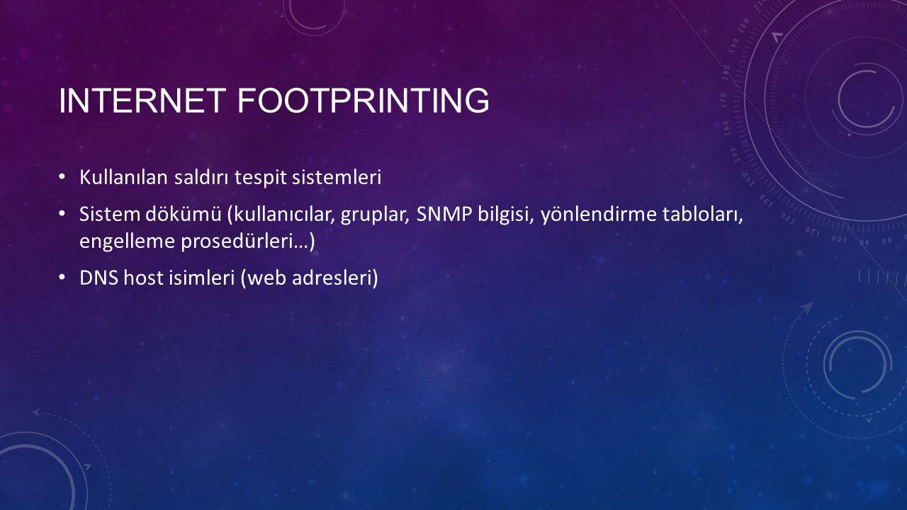 INTERNET FOOTPRINTING Kullanılan saldırı tespit sistemleri Sistem dökümü (kullanıcılar, gruplar, SNMP bilgisi, yönlendirme tabloları, engelleme prosed