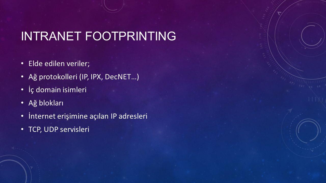 INTRANET FOOTPRINTING Sistem mimarisi (SPARC, x86…) Erişim kontrol mekanizmaları Saldırı tespit sistemleri Sistem dökümü (kullanıcılar, gruplar, SNMP bilgisi, yönlendirme tabloları, engelleme prosedürleri…)