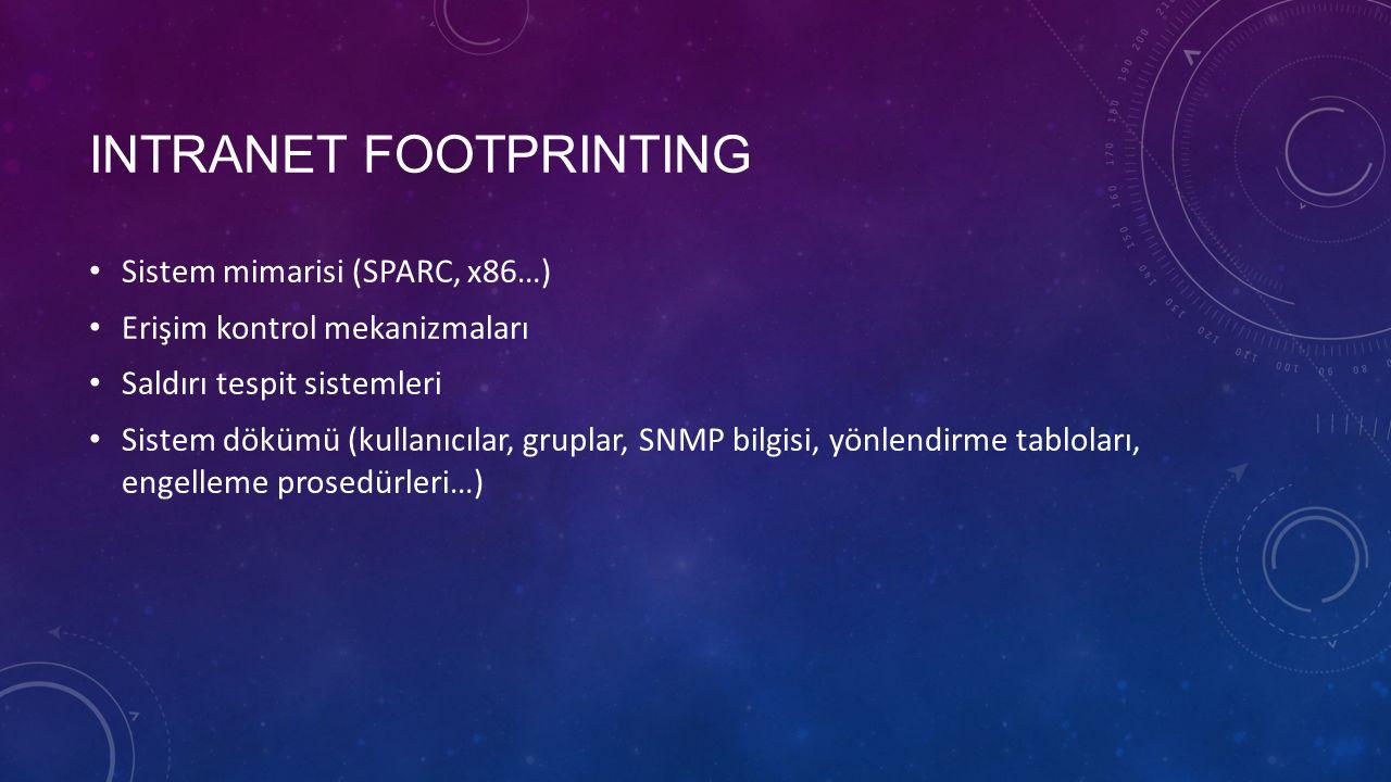 INTRANET FOOTPRINTING Sistem mimarisi (SPARC, x86…) Erişim kontrol mekanizmaları Saldırı tespit sistemleri Sistem dökümü (kullanıcılar, gruplar, SNMP