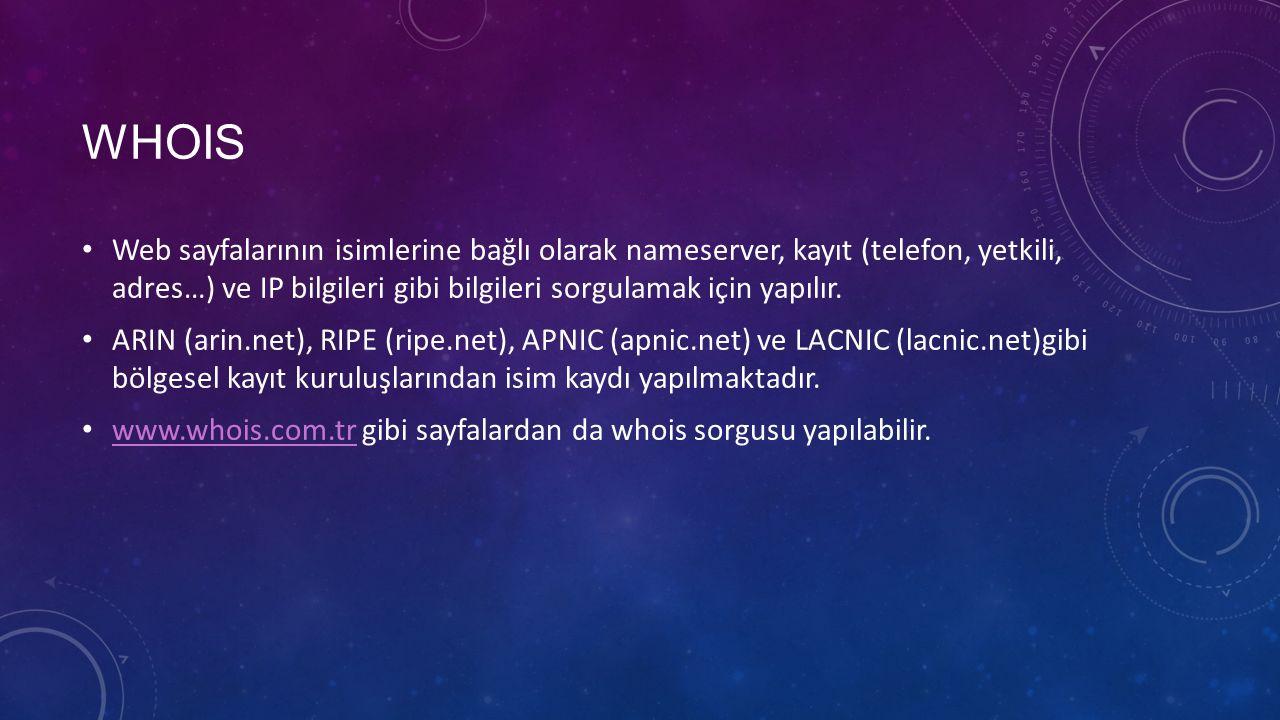 WHOIS Web sayfalarının isimlerine bağlı olarak nameserver, kayıt (telefon, yetkili, adres…) ve IP bilgileri gibi bilgileri sorgulamak için yapılır. AR