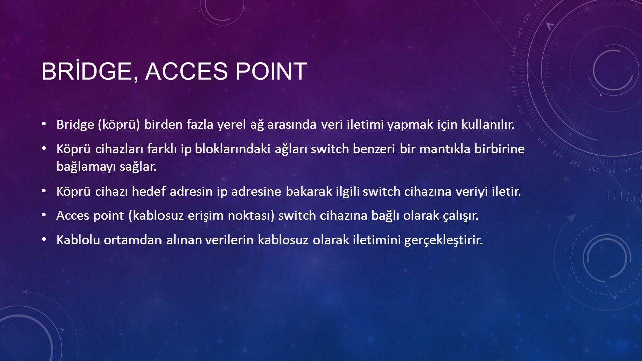 BRİDGE, ACCES POINT Bridge (köprü) birden fazla yerel ağ arasında veri iletimi yapmak için kullanılır.