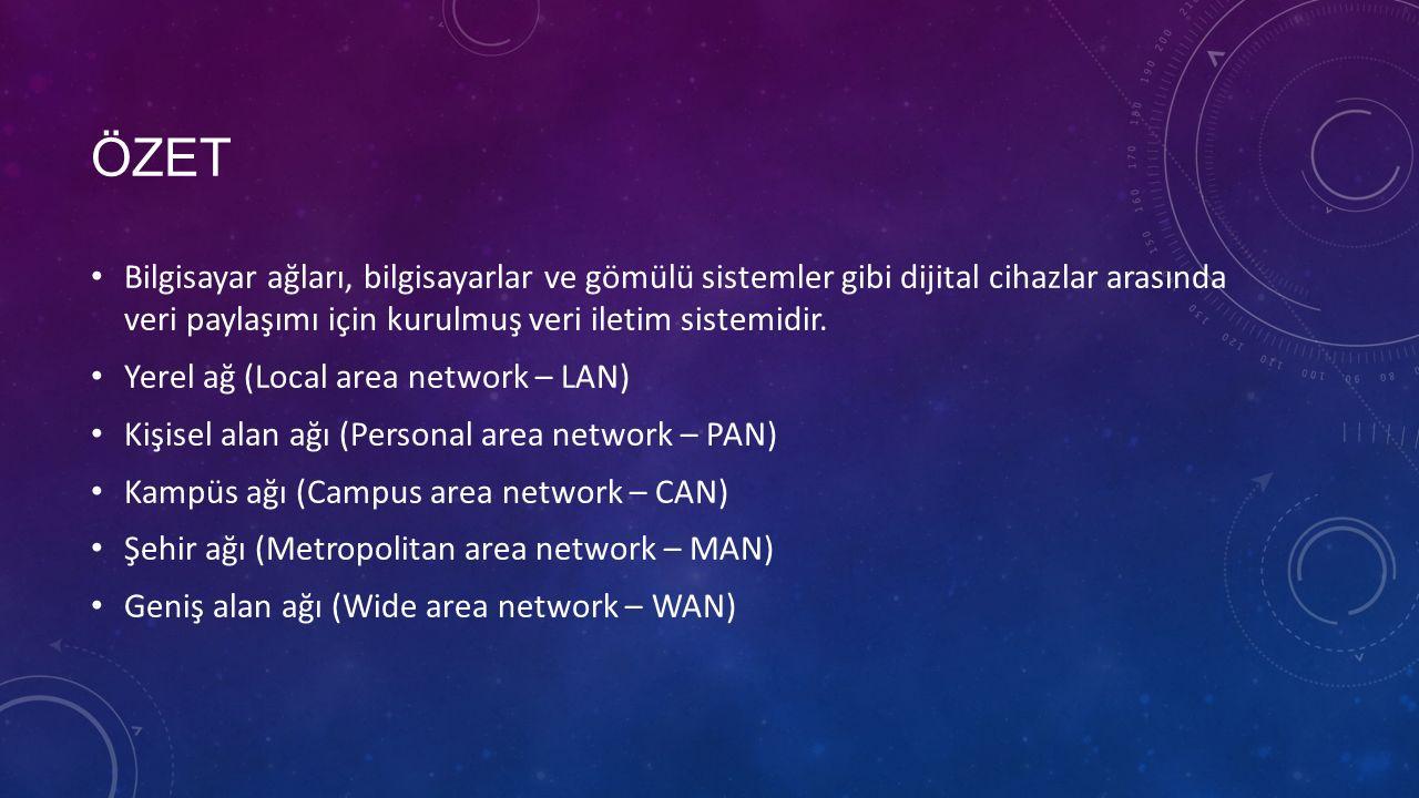 ÖZET Bilgisayar ağları, bilgisayarlar ve gömülü sistemler gibi dijital cihazlar arasında veri paylaşımı için kurulmuş veri iletim sistemidir.