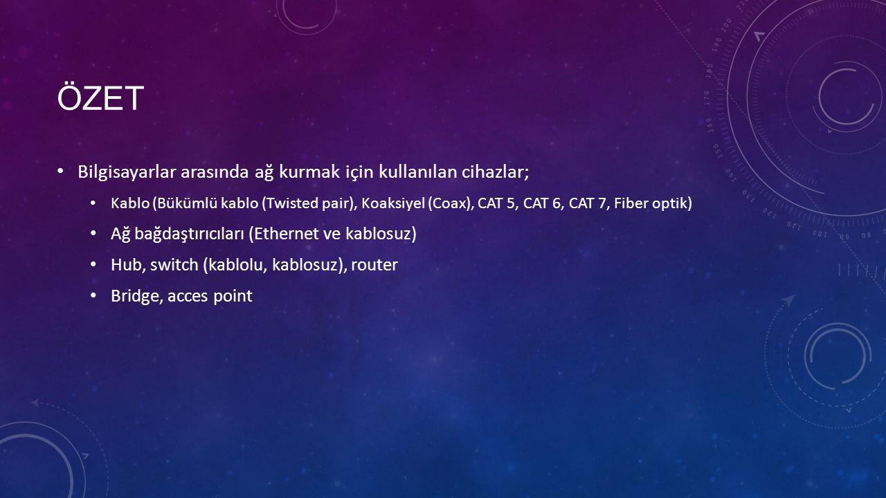 ÖZET Bilgisayarlar arasında ağ kurmak için kullanılan cihazlar; Kablo (Bükümlü kablo (Twisted pair), Koaksiyel (Coax), CAT 5, CAT 6, CAT 7, Fiber optik) Ağ bağdaştırıcıları (Ethernet ve kablosuz) Hub, switch (kablolu, kablosuz), router Bridge, acces point