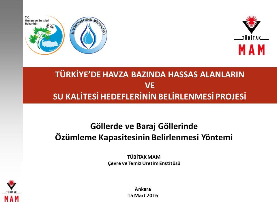 ÖZÜMLEME KAPASİTESİ BELİRLENMESİ YAKLAŞIMI ÖRNEK UYGULAMA Marmara Havzası'nda bulunan Bakacak Baraj Gölünün (MAG_020) alanı 1.116 ha, maksimum derinliği 48 m, göl hacmi 139,8 hm 3 ve debi değeri 2,03 m 3 /sn'dir (DSİ verileri).