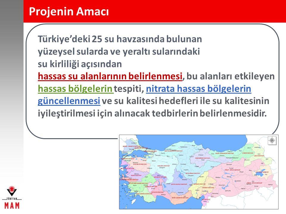 Projenin Amacı Türkiye'deki 25 su havzasında bulunan yüzeysel sularda ve yeraltı sularındaki su kirliliği açısından hassas su alanlarının belirlenmesi