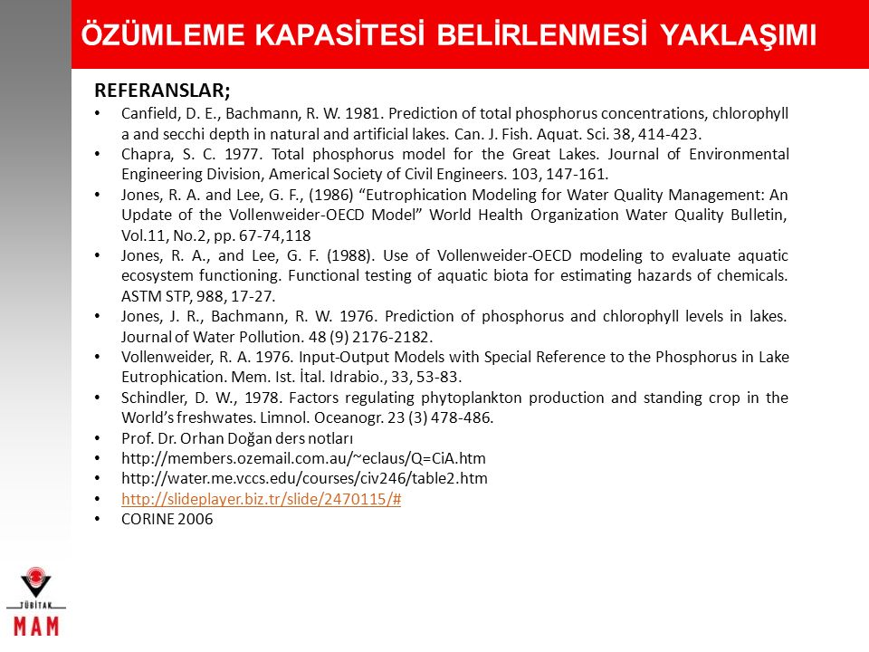 ÖZÜMLEME KAPASİTESİ BELİRLENMESİ YAKLAŞIMI REFERANSLAR; Canfield, D. E., Bachmann, R. W. 1981. Prediction of total phosphorus concentrations, chloroph