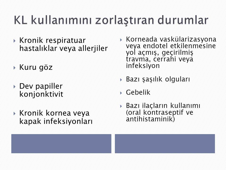  Kronik respiratuar hastalıklar veya allerjiler  Kuru göz  Dev papiller konjonktivit  Kronik kornea veya kapak infeksiyonları  Korneada vaskülarizasyona veya endotel etkilenmesine yol açmış, geçirilmiş travma, cerrahi veya infeksiyon  Bazı şaşılık olguları  Gebelik  Bazı ilaçların kullanımı (oral kontraseptif ve antihistaminik)