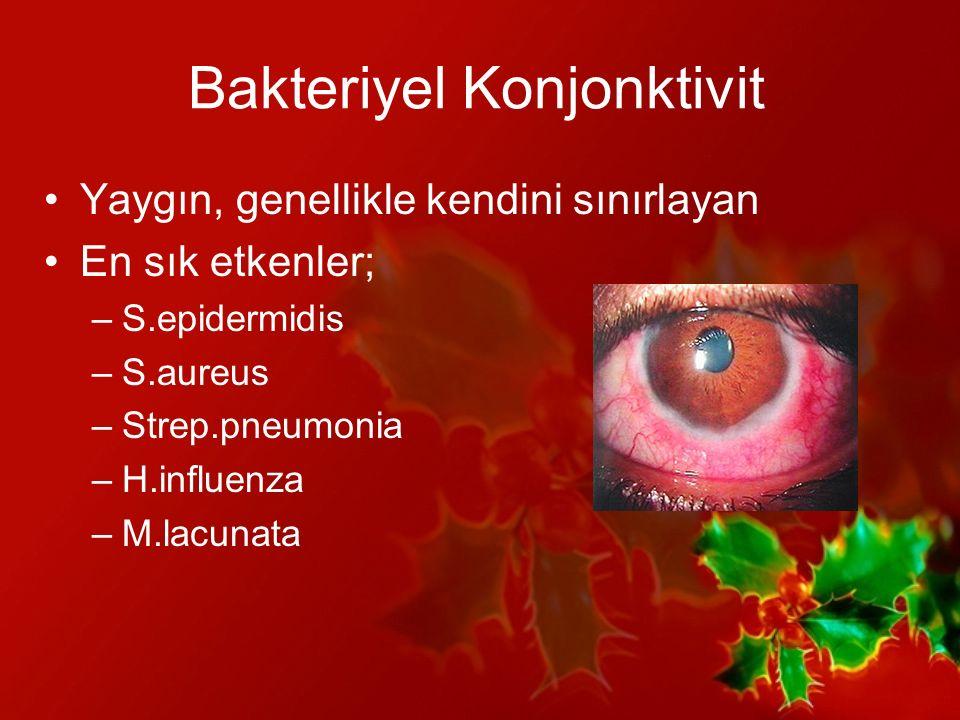 Bakteriyel Konjonktivit Tedavide; 1) Antibiyotikli pomadlar 2) Antibiyotikli damlalar –Florokinolonlar(ciprofloksazin, ofloksazin) –Aminoglikozidler(tobramisin, gentamisin)