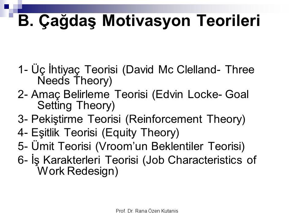 Prof. Dr. Rana Özen Kutanis B. Çağdaş Motivasyon Teorileri 1- Üç İhtiyaç Teorisi (David Mc Clelland- Three Needs Theory) 2- Amaç Belirleme Teorisi (Ed
