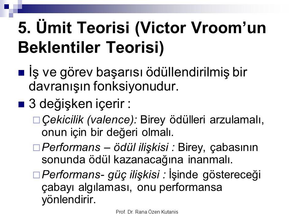 Prof. Dr. Rana Özen Kutanis 5. Ümit Teorisi (Victor Vroom'un Beklentiler Teorisi) İş ve görev başarısı ödüllendirilmiş bir davranışın fonksiyonudur. 3