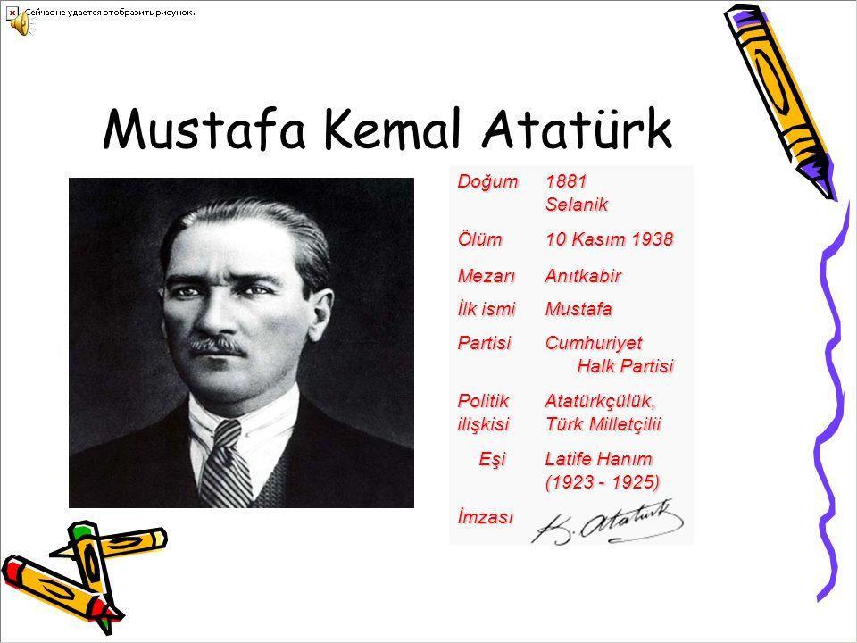 Mustafa Kemal AtatürkDoğum1881SelanikÖlüm 10 Kasım 1938 MezarıAnıtkabir İlk ismi Mustafa Partisi Cumhuriyet Halk Partisi PolitikilişkisiAtatürkçülük, Türk Milletçilii Eşi Eşi Latife Hanım Latife Hanım (1923 - 1925) İmzası