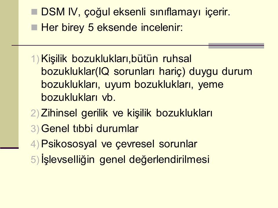 DSM IV, çoğul eksenli sınıflamayı içerir. Her birey 5 eksende incelenir: 1) Kişilik bozuklukları,bütün ruhsal bozukluklar(IQ sorunları hariç) duygu du