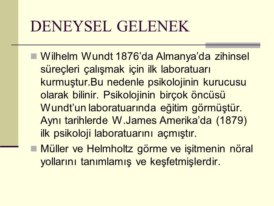DENEYSEL GELENEK Wilhelm Wundt 1876'da Almanya'da zihinsel süreçleri çalışmak için ilk laboratuarı kurmuştur.Bu nedenle psikolojinin kurucusu olarak b