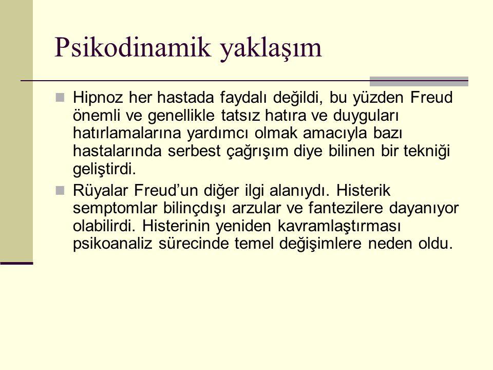 Psikodinamik yaklaşım Hipnoz her hastada faydalı değildi, bu yüzden Freud önemli ve genellikle tatsız hatıra ve duyguları hatırlamalarına yardımcı olm