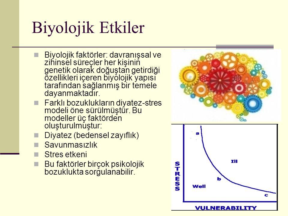 Biyolojik Etkiler Biyolojik faktörler: davranışsal ve zihinsel süreçler her kişinin genetik olarak doğuştan getirdiği özellikleri içeren biyolojik yap