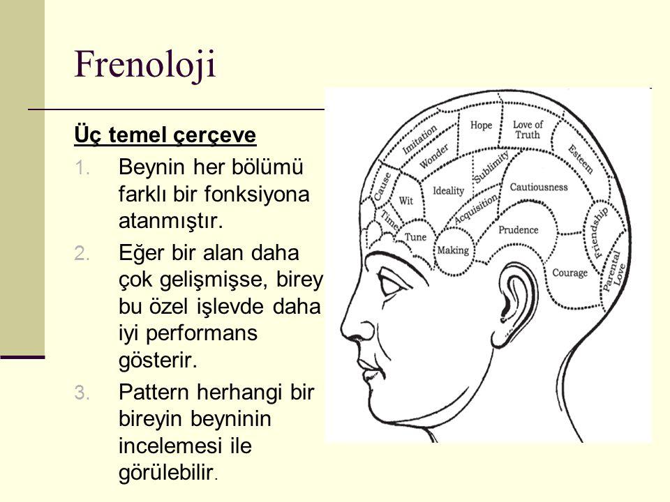 Frenoloji Üç temel çerçeve 1. Beynin her bölümü farklı bir fonksiyona atanmıştır. 2. Eğer bir alan daha çok gelişmişse, birey bu özel işlevde daha iyi