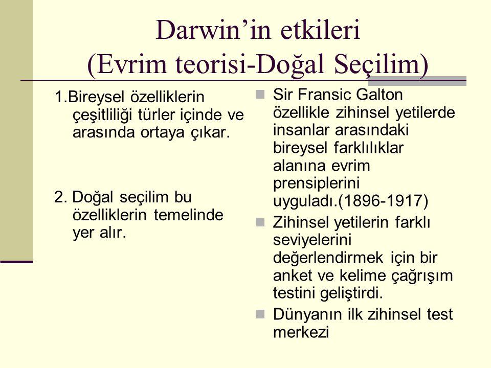 Darwin'in etkileri (Evrim teorisi-Doğal Seçilim) 1.Bireysel özelliklerin çeşitliliği türler içinde ve arasında ortaya çıkar. 2. Doğal seçilim bu özell