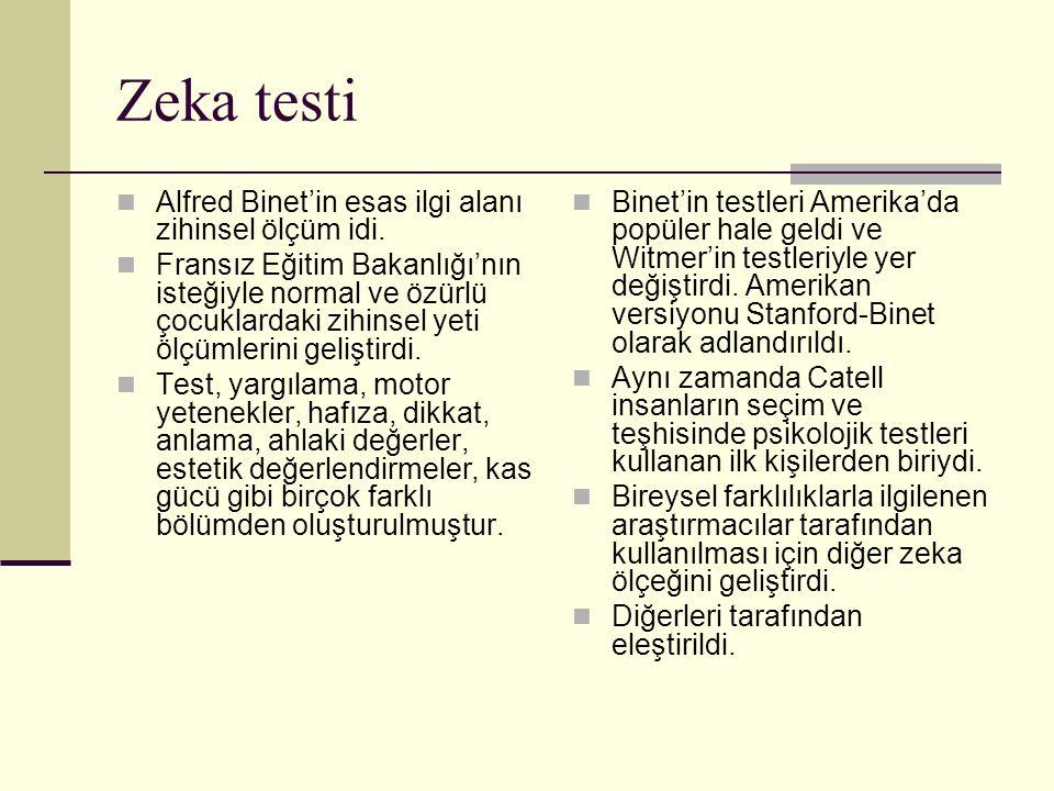 Zeka testi Alfred Binet'in esas ilgi alanı zihinsel ölçüm idi. Fransız Eğitim Bakanlığı'nın isteğiyle normal ve özürlü çocuklardaki zihinsel yeti ölçü