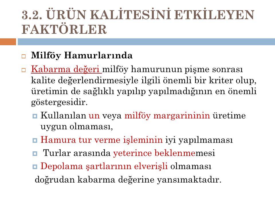 3.2. ÜRÜN KALİTESİNİ ETKİLEYEN FAKTÖRLER  Milföy Hamurlarında  Kabarma değeri milföy hamurunun pişme sonrası kalite değerlendirmesiyle ilgili önemli