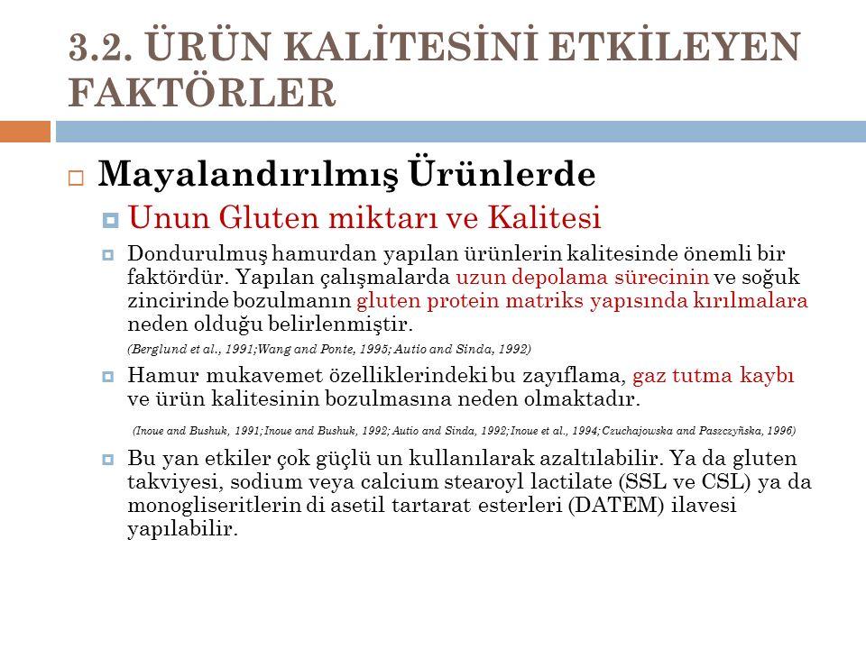 3.2. ÜRÜN KALİTESİNİ ETKİLEYEN FAKTÖRLER  Mayalandırılmış Ürünlerde  Unun Gluten miktarı ve Kalitesi  Dondurulmuş hamurdan yapılan ürünlerin kalite