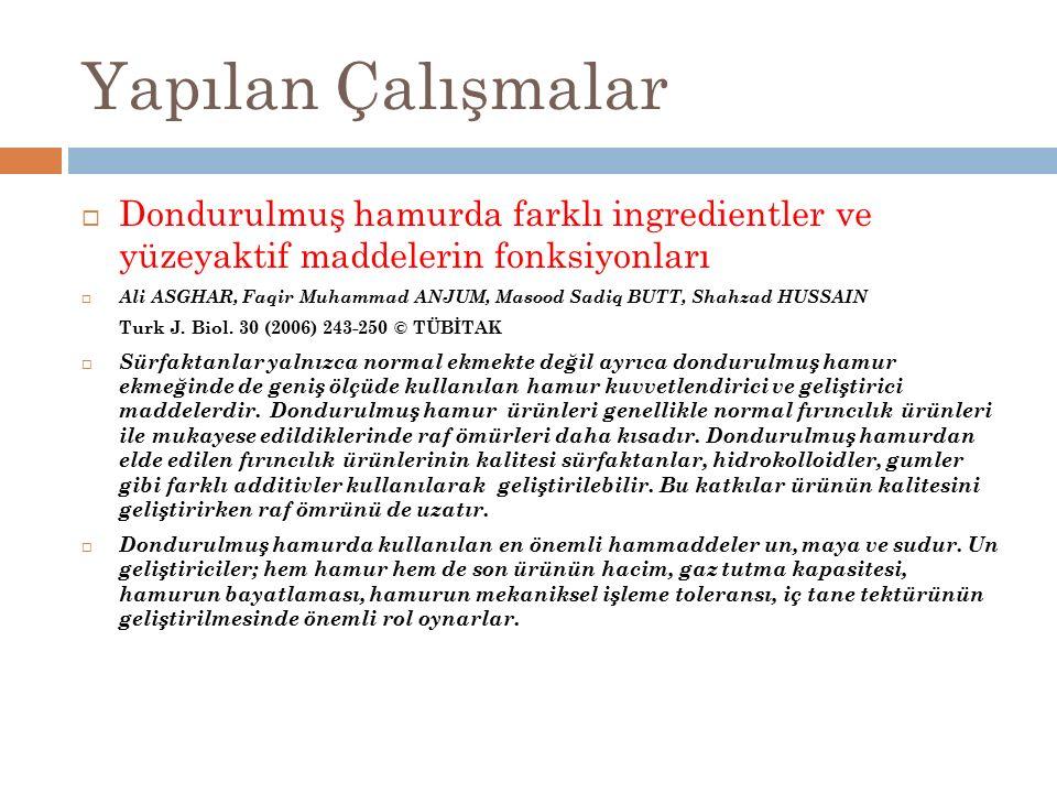 Yapılan Çalışmalar  Dondurulmuş hamurda farklı ingredientler ve yüzeyaktif maddelerin fonksiyonları  Ali ASGHAR, Faqir Muhammad ANJUM, Masood Sadiq BUTT, Shahzad HUSSAIN Turk J.