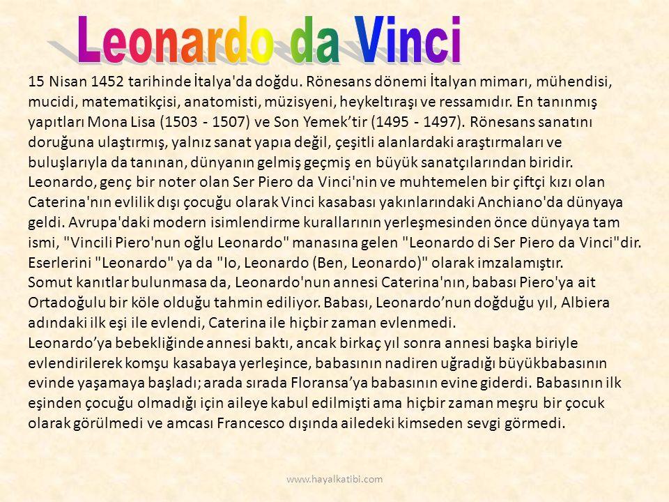 15 Nisan 1452 tarihinde İtalya da doğdu.