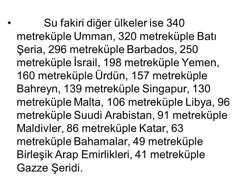 Su fakiri diğer ülkeler ise 340 metreküple Umman, 320 metreküple Batı Şeria, 296 metreküple Barbados, 250 metreküple İsrail, 198 metreküple Yemen, 160