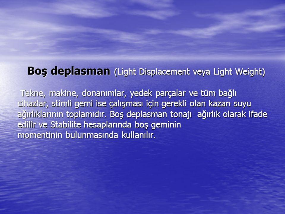 Boş deplasman (Light Displacement veya Light Weight) Tekne, makine, donanımlar, yedek parçalar ve tüm bağlı cihazlar, stimli gemi ise çalışması için g