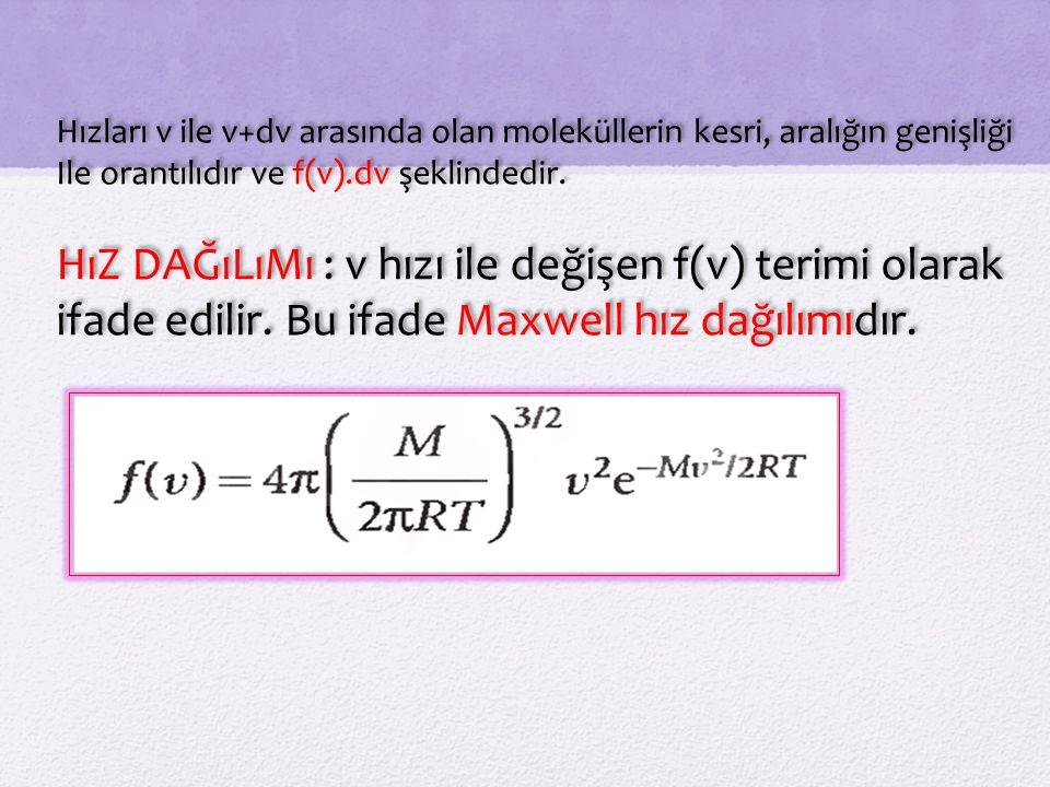 Hızları v ile v+dv arasında olan moleküllerin kesri, aralığın genişliği Ile orantılıdır ve f(v).dv şeklindedir.