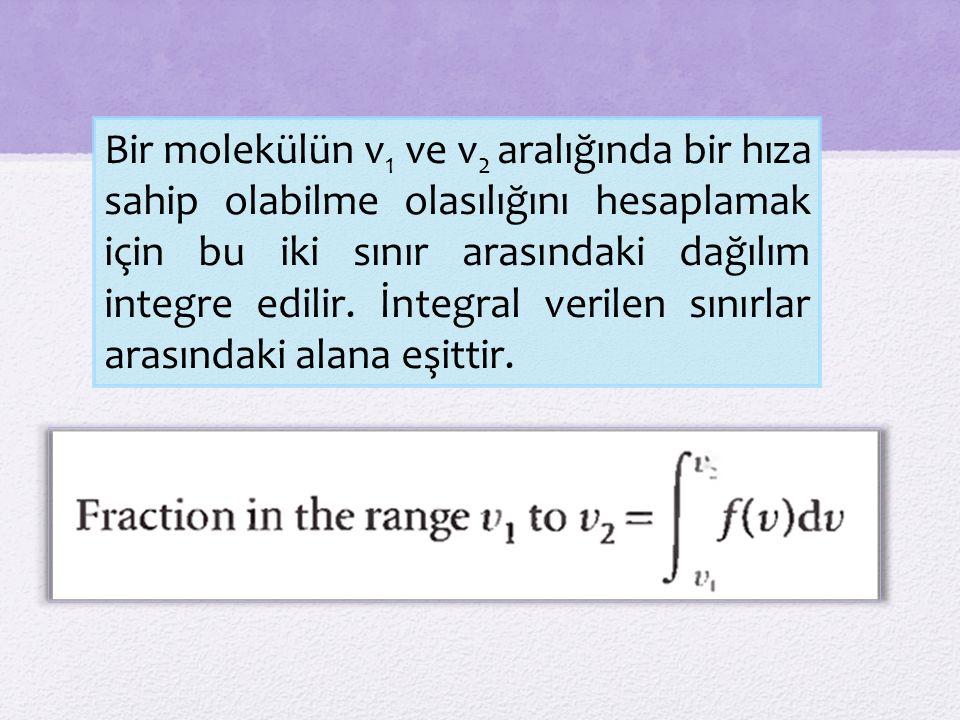 Bir molekülün v 1 ve v 2 aralığında bir hıza sahip olabilme olasılığını hesaplamak için bu iki sınır arasındaki dağılım integre edilir.