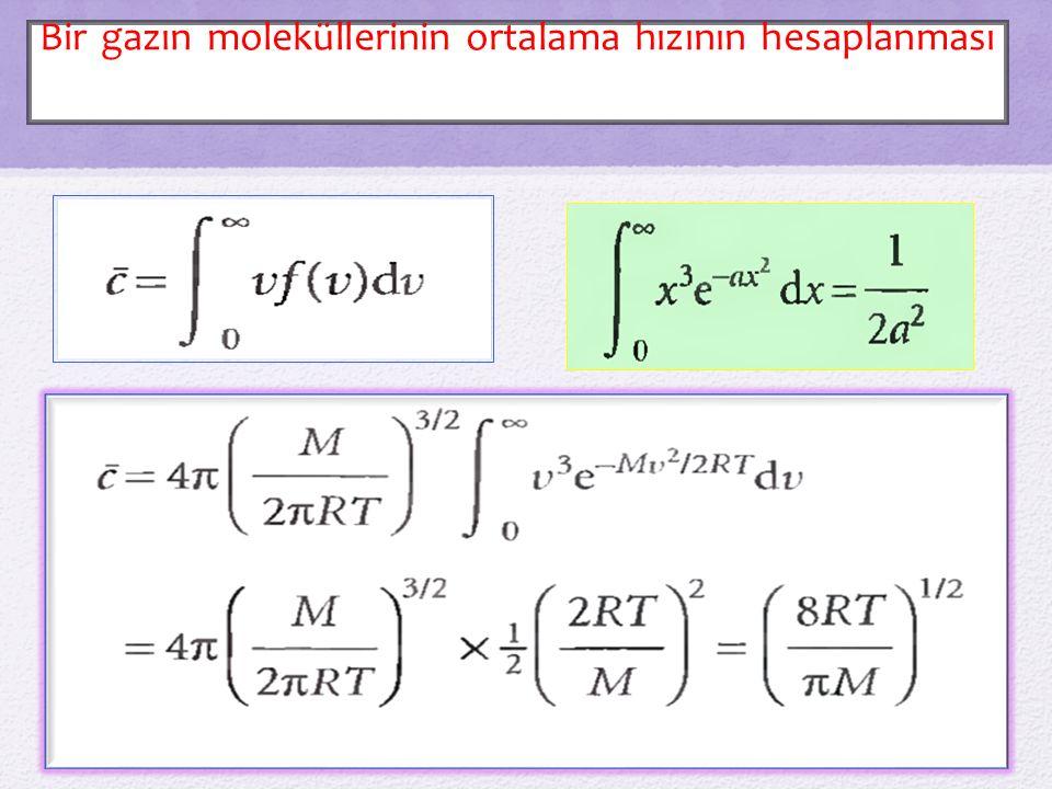 Bir gazın moleküllerinin ortalama hızının hesaplanması