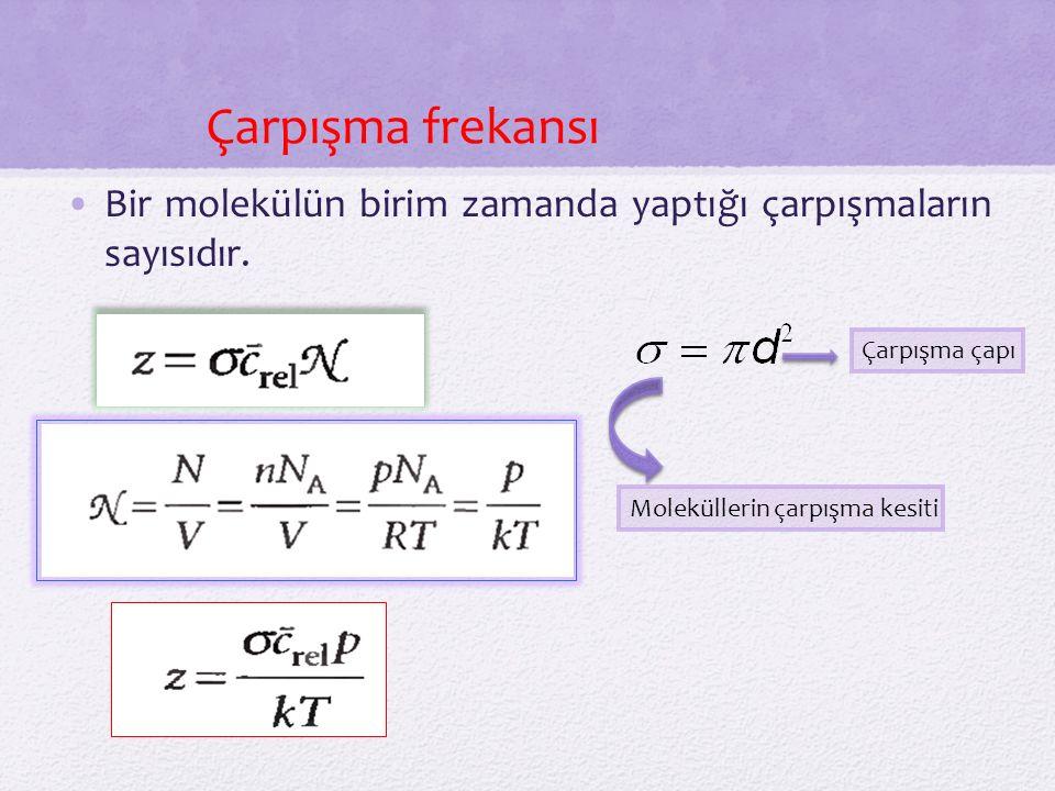 Bir molekülün birim zamanda yaptığı çarpışmaların sayısıdır.