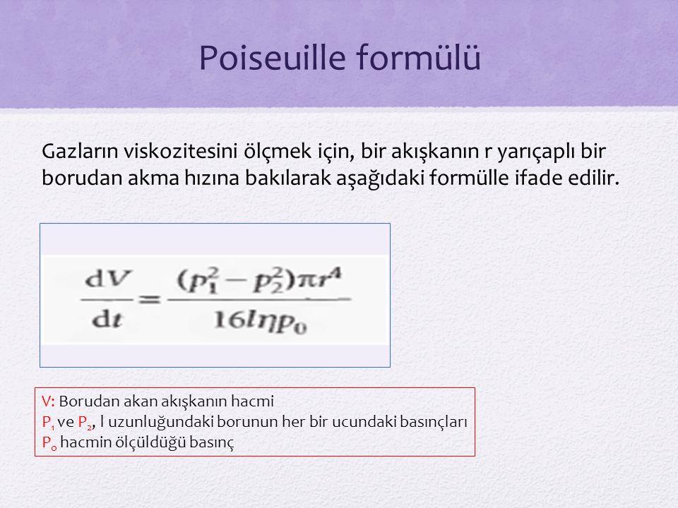 Poiseuille formülü Gazların viskozitesini ölçmek için, bir akışkanın r yarıçaplı bir borudan akma hızına bakılarak aşağıdaki formülle ifade edilir.