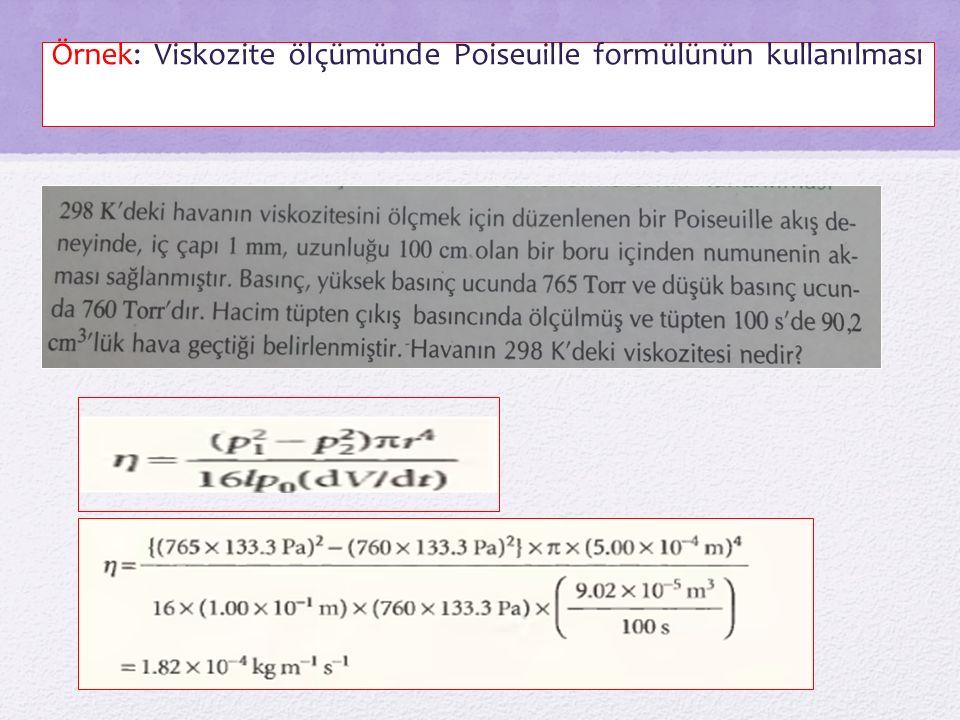 Örnek: Viskozite ölçümünde Poiseuille formülünün kullanılması