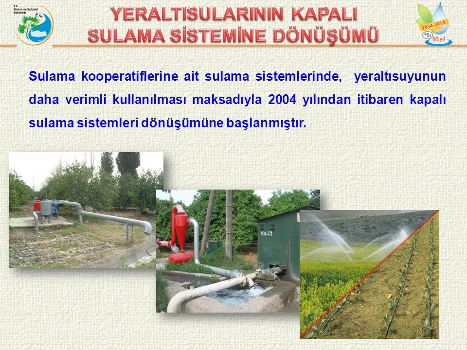 17/30 Sulama kooperatiflerine ait sulama sistemlerinde, yeraltısuyunun daha verimli kullanılması maksadıyla 2004 yılından itibaren kapalı sulama sistemleri dönüşümüne başlanmıştır.