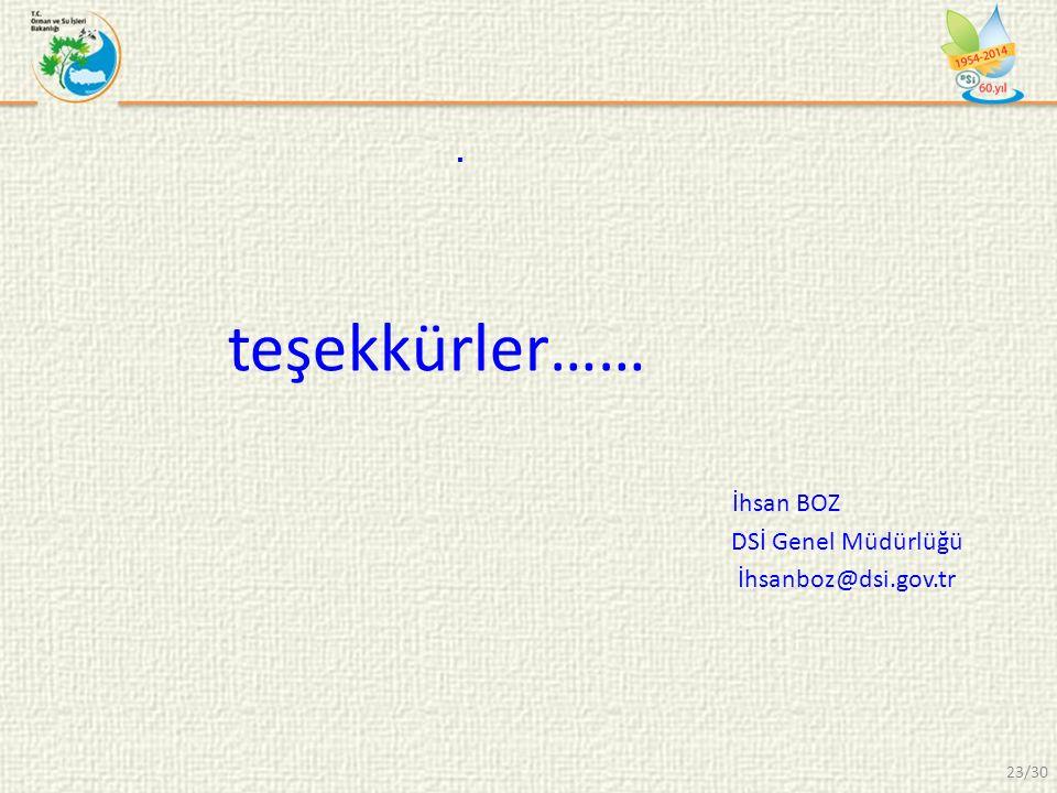 teşekkürler…… İhsan BOZ DSİ Genel Müdürlüğü İhsanboz@dsi.gov.tr. 23/30