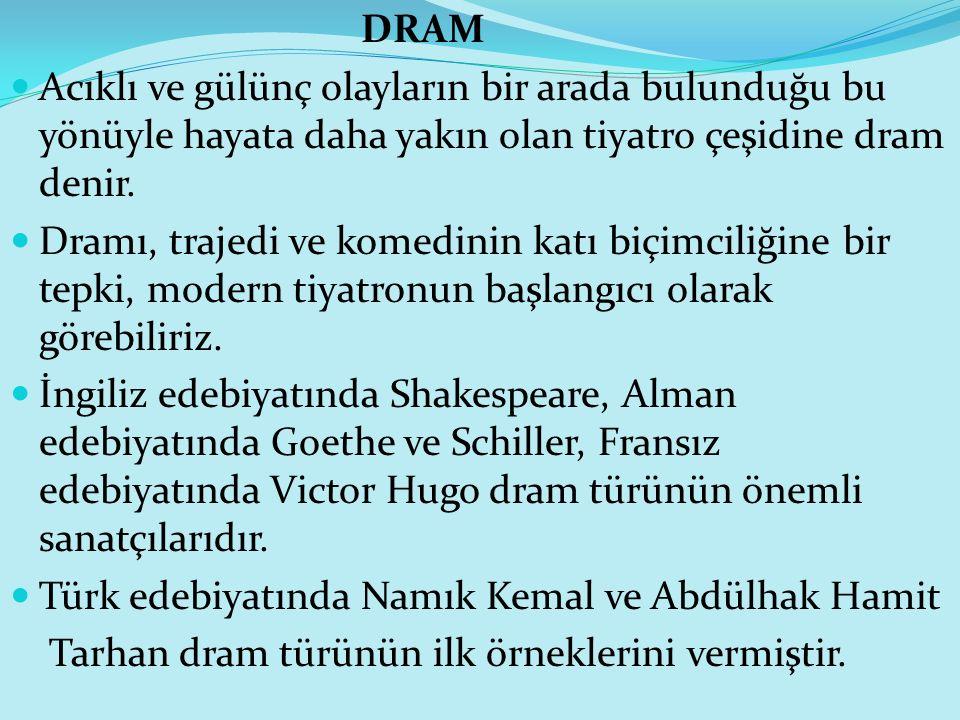 DRAM Acıklı ve gülünç olayların bir arada bulunduğu bu yönüyle hayata daha yakın olan tiyatro çeşidine dram denir.