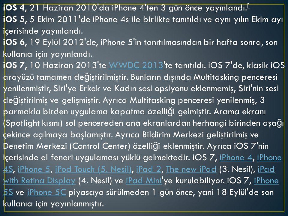 iOS 4, 21 Haziran 2010 da iPhone 4 ten 3 gün önce yayınlandı.