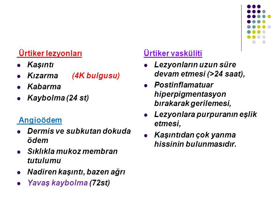 Ürtiker lezyonları Kaşıntı Kızarma (4K bulgusu) Kabarma Kaybolma (24 st) Angioödem Dermis ve subkutan dokuda ödem Sıklıkla mukoz membran tutulumu Nadi