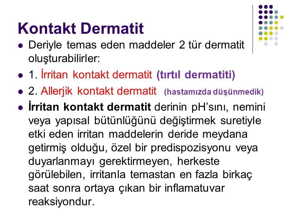 Kontakt Dermatit Deriyle temas eden maddeler 2 tür dermatit oluşturabilirler: 1. İrritan kontakt dermatit (tırtıl dermatiti) 2. Allerjik kontakt derma