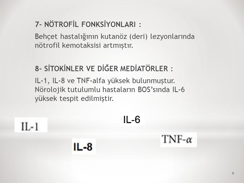 10- Eritema nodosum ve steroid kullanımına bağlı 'beden imgesinde bozulma riski' (O) 11- Deri ve göz tutulumuna bağlı 'sosyal izolasyon' (O) 12- Üveite bağlı görme kaybı yaşayacağına ilişkin 'korku' (O) 13- Genital ülsere bağlı 'cinsel işlev bozukluğu' (O) 14- Hastalığının sık sık tekrarlamasına bağlı 'ümitsizlik' (O) 50
