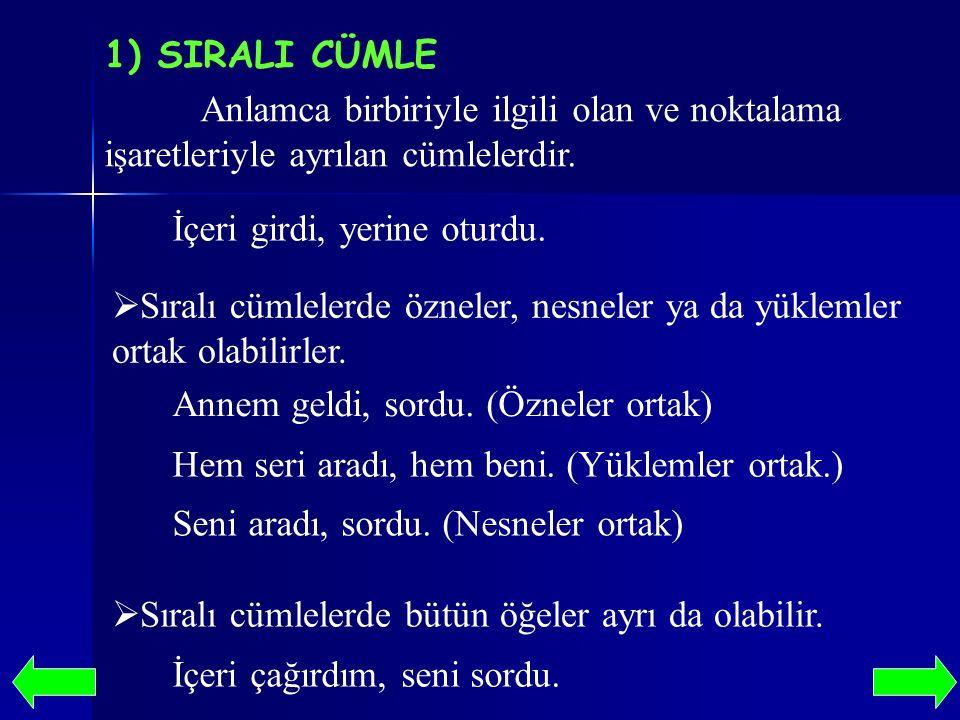1) SIRALI CÜMLE Anlamca birbiriyle ilgili olan ve noktalama işaretleriyle ayrılan cümlelerdir. İçeri girdi, yerine oturdu.  Sıralı cümlelerde özneler