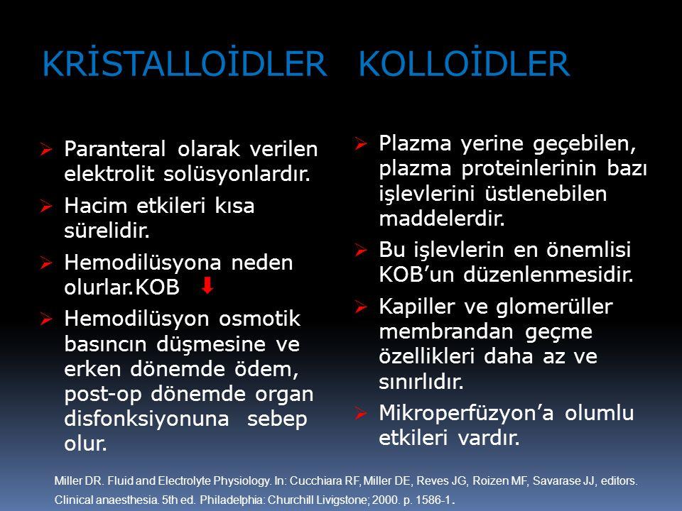 KRİSTALLOİDLER KOLLOİDLER  Paranteral olarak verilen elektrolit solüsyonlardır.  Hacim etkileri kısa sürelidir.  Hemodilüsyona neden olurlar.KOB 