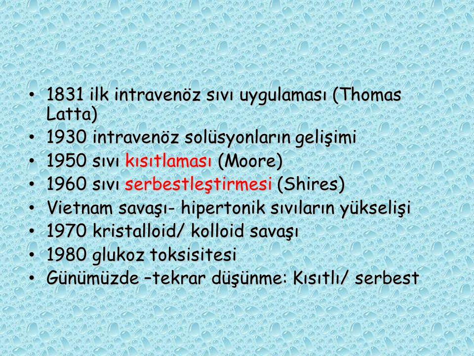1831 ilk intravenöz sıvı uygulaması (Thomas Latta) 1831 ilk intravenöz sıvı uygulaması (Thomas Latta) 1930 intravenöz solüsyonların gelişimi 1930 intr