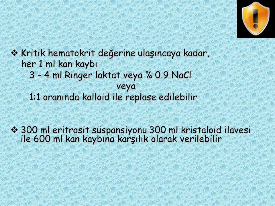  Kritik hematokrit değerine ulaşıncaya kadar, her 1 ml kan kaybı her 1 ml kan kaybı 3 - 4 ml Ringer laktat veya % 0.9 NaCl 3 - 4 ml Ringer laktat vey
