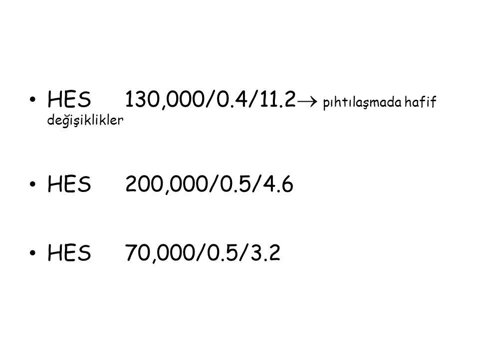 HES130,000/0.4/11.2  pıhtılaşmada hafif değişiklikler HES200,000/0.5/4.6 HES70,000/0.5/3.2