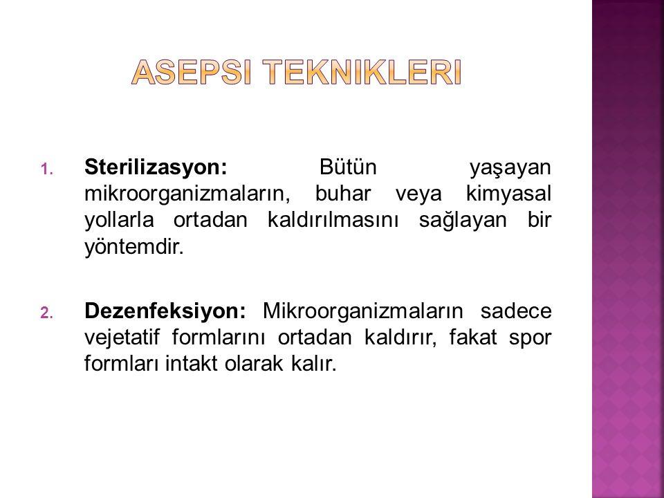 1. Sterilizasyon: Bütün yaşayan mikroorganizmaların, buhar veya kimyasal yollarla ortadan kaldırılmasını sağlayan bir yöntemdir. 2. Dezenfeksiyon: Mik
